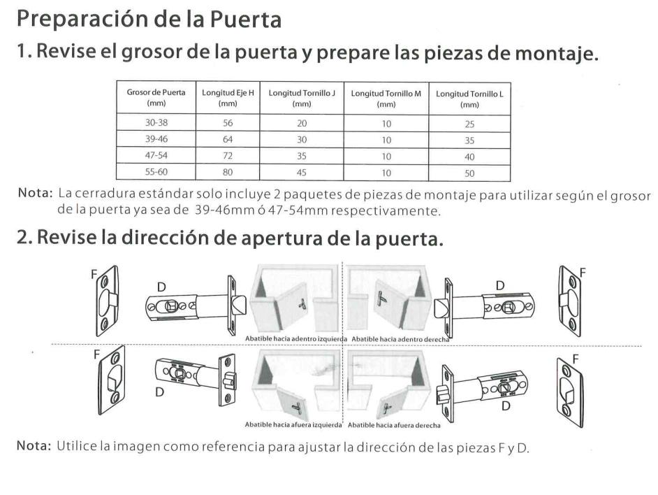 Imagenes Guía  para la cerradura ML10